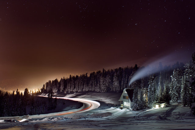 """The house stands, the lights are on..."" ISO 800, F 3,2, 38 seconds. On the way to Ergaki, Krasnoyarsk Krai, Russia. Twilight away the lights of one of the bases. (Photo and caption by Alexander Nerozya/National Geographic Traveler Photo Contest)"