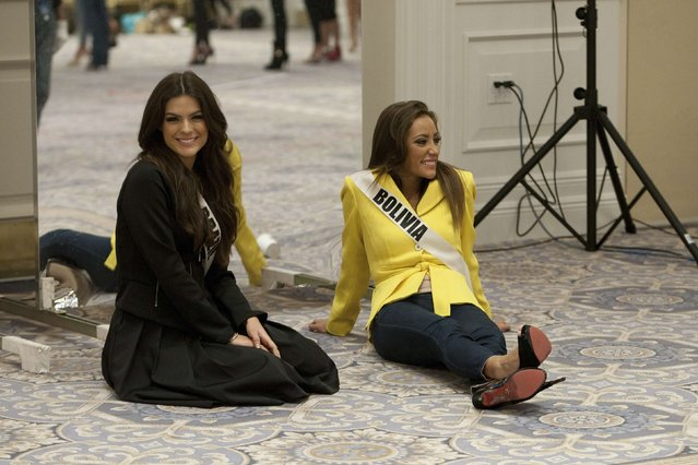 Miss Brazil 2014 Melissa Gurgel (L) and Miss Bolivia 2014 Claudia Tavel are pictured during rehearsals for the 63rd annual Miss Universe Pageant in Miami, Florida in this January 16, 2015 handout photo. (Photo by Reuters/Miss Universe Organization)