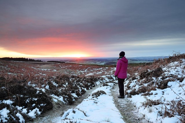With temperatures dropping to –4 overnight there was a cold, snowy but colourful sunrise to start to the day in Teesdale, County Durham, United Kingdom on January 24, 2021. (Photo by David Forster/Alamy Live News)