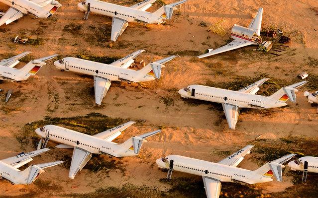 Airplane Boneyard, Mojave Airport, Mojave Desert, California. (Photo by Jassen Todorov/Caters News)