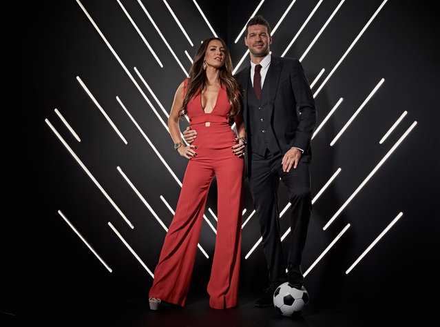 Chelsea favourite, Michael Ballack with girlfriend Natacha Tannous pictured inside the photo booth prior to The Best FIFA Football Awards at Royal Festival Hall on September 24, 2018 in London, England. (Photo by Michael Regan – FIFA/FIFA via Getty Images)