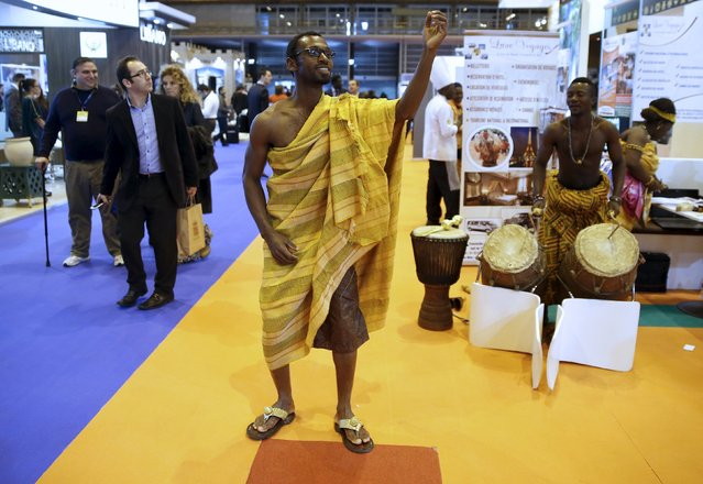 A man performs a dance in the Africa area at the FITUR international tourism trade fair which opened in Madrid, Spain, January 20, 2016. (Photo by Andrea Comas/Reuters)