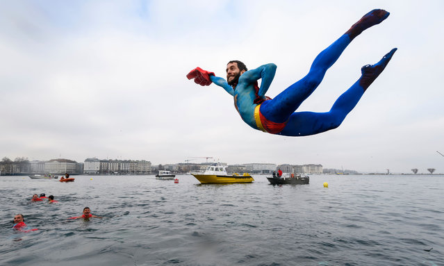 "A swimmer disguised as Superman dives into the lake during the 78th ""Coupe de Noel"" (Christmas cup) swimming race in the Lake Geneva, on December 18, 2016 in Geneva. (Photo by Fabrice Coffrini/AFP Photo)"