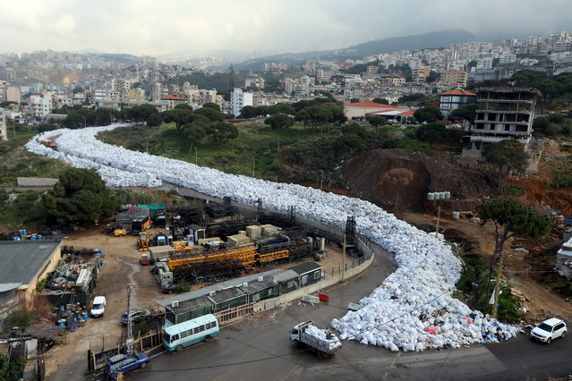 LEBANON: A general view shows packed garbage bags in Jdeideh, Beirut, Lebanon February 23, 2016. (Photo by Hasan Shaaban/Reuters)