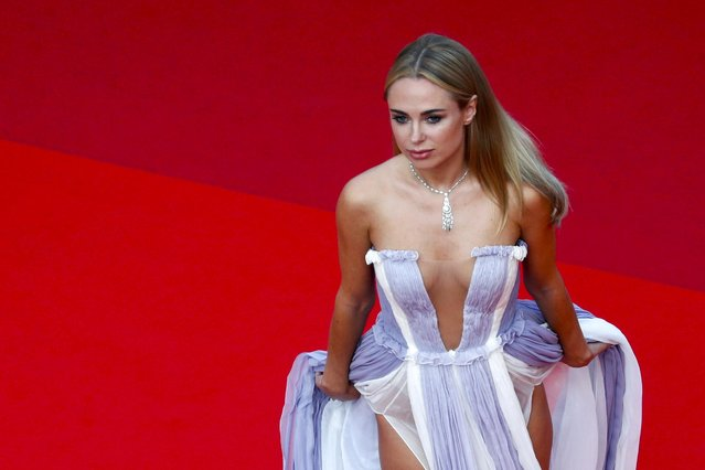"""British fashion designer Kimberley Garner arrives for the screening of the film """"France"""" at the 74th edition of the Cannes Film Festival in Cannes, southern France, on July 15, 2021. (Photo by Johanna Geron/Reuters)"""