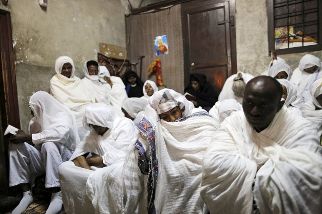 Ethiopian Orthodox worshippers attend the washing of the feet ceremony at the Ethiopian section of the Church of the Holy Sepulchre in Jerusalem's Old City April 9, 2015, ahead of Orthodox Easter. (Photo by Ammar Awad/Reuters)