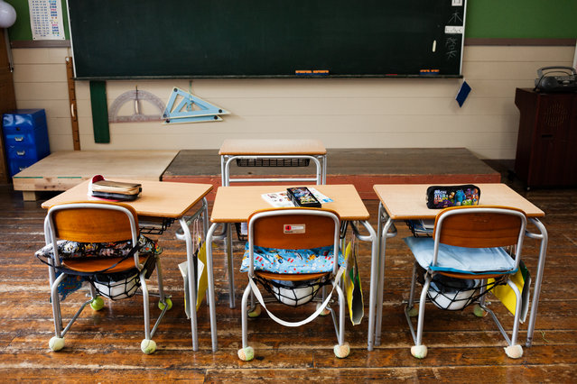 Aone's elementary school has only three joint classes each year with a neighboring school. There are no computers in the classrooms. (Photo by Ko Sasaki/The Washington Post)