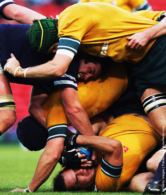 George Smith of Austalia (bottom) finds himself crushed in a maul during the International Friendly match between Scotland and Australia at Hampden Parkon