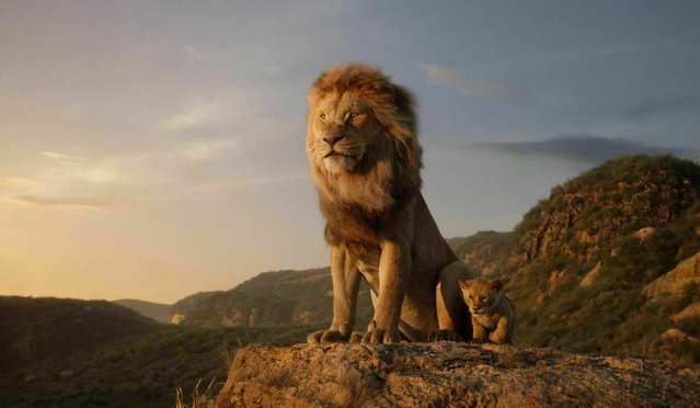 "This image released by Disney shows the characters Mufasa, voiced by James Earl Jones, left, and Simba, voiced by JD McCrary, in a scene from ""The Lion King"", directed by Jon Favreau. (Photo by Disney via AP Photo)"