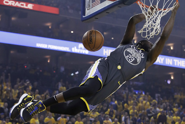Golden State Warriors forward Draymond Green dunks against the Portland Trail Blazers during the first half of Game 2 of the NBA basketball playoffs Western Conference finals in Oakland, Calif., Thursday, May 16, 2019. (Photo by Jeff Chiu/AP Photo)