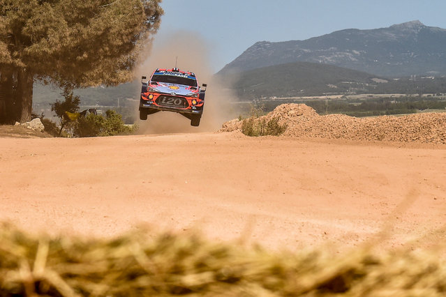 Norwegian driver Andreas Mikkelsen steers his Hyundai Shell Mobis WRT with Norwegian co-driver Anders Jaeger, during the Shakedown stage of the Rally of Sardinia near Olmedo, on June 13, 2019. (Photo by Andreas Solaro/AFP Photo)