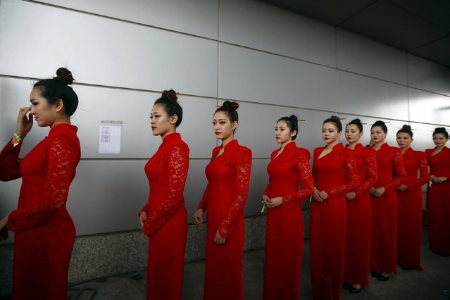 Formula One, Chinese F1 Grand Prix, Shanghai, China on April 16, 2016: Hostesses before qualifying session. (Photo by Aly Song/Reuters)
