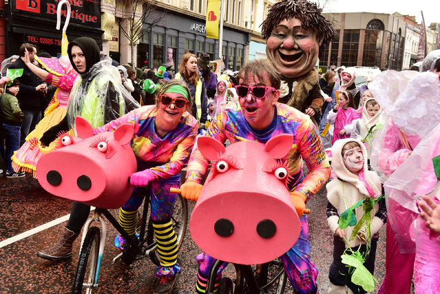 Performers take part in the annual St Patrick's Day Parade on March 17, 2017 in Belfast, Northern Ireland. (Photo by Carrie Davenport/Getty Images)