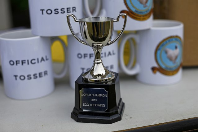 The winner's trophy is displayed during the World Egg Throwing Championships and Vintage Day in Swaton, Britain June 28, 2015. (Photo by Darren Staples/Reuters)
