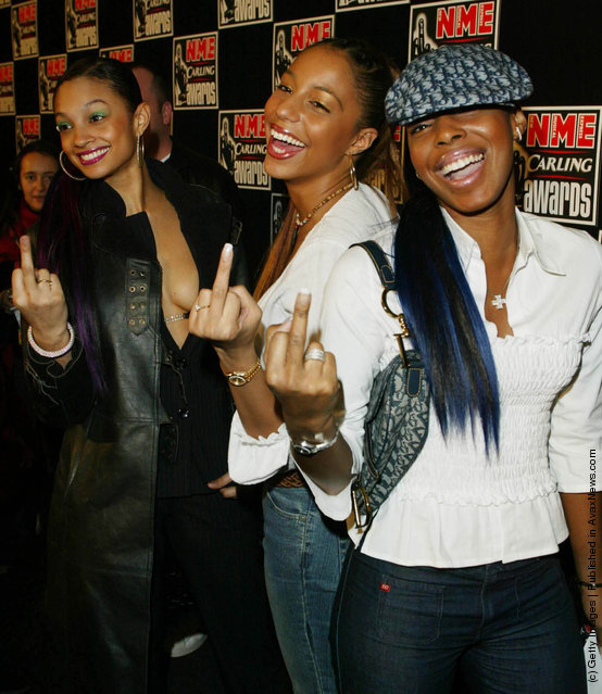 British female pop group Misteeq give the middle finger to photographers at the NME Carling Awards in the Planit arches