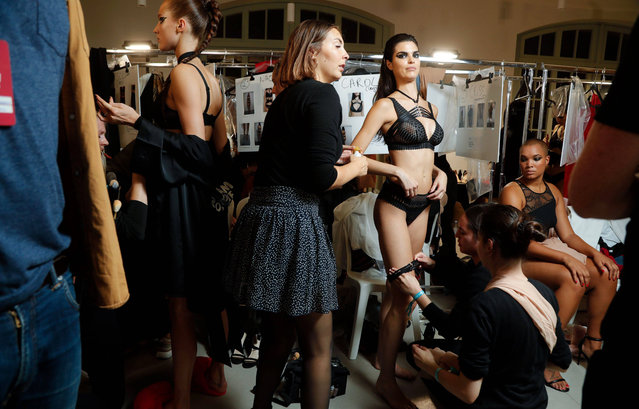 Models backstage ahead of the Etam Winter 2019/Summer 2020 show as part of Paris Fashion Week At Roland Garros on September 24, 2019 in Paris, France. (Photo by Rex Features/Shutterstock/SIPA Press)
