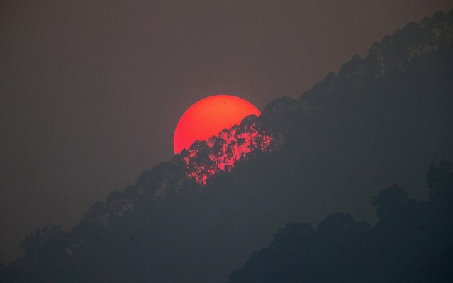 The sun is setting behind lines of trees as seen from Kathmandu, Nepal on May 8, 2019. (Photo by Narendra Shrestha/EPA/EFE/Rex Features/Shutterstock)