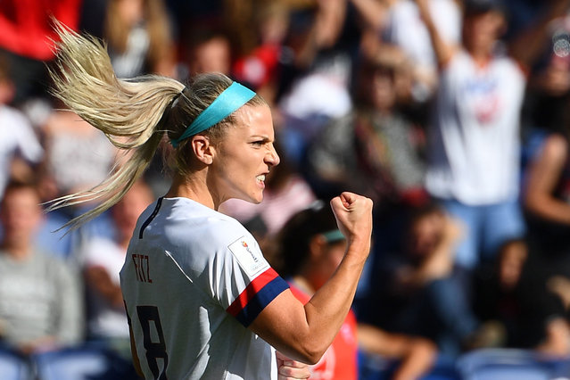 United States' midfielder Julie Ertz celebrates after scoring a goal during the France 2019 Women's World Cup Group F football match between USA and Chile, on June 16, 2019, at the Parc des Princes stadium in Paris. (Photo by Franck Fife/AFP Photo)
