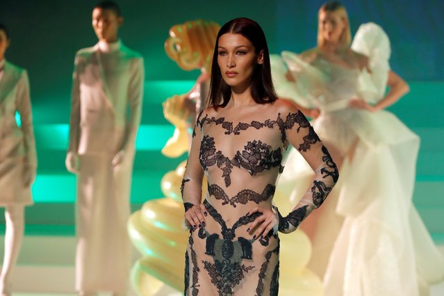 Model Bella Hadid presents a creation by designer Jean Paul Gaultier as part of his Haute Couture Spring/Summer 2020 collection show in Paris, France, January 22, 2020. Picture taken January 22, 2020. (Photo by Charles Platiau/Reuters)
