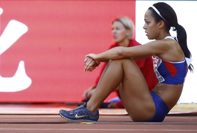 Katarina Johnson-Thompson of Britain waits for her turn as she competes in the women's long jump qualifying round during the 15th IAAF World Championships at the National Stadium in Beijing, China, August 27, 2015. (Photo by Kai Pfaffenbach/Reuters)