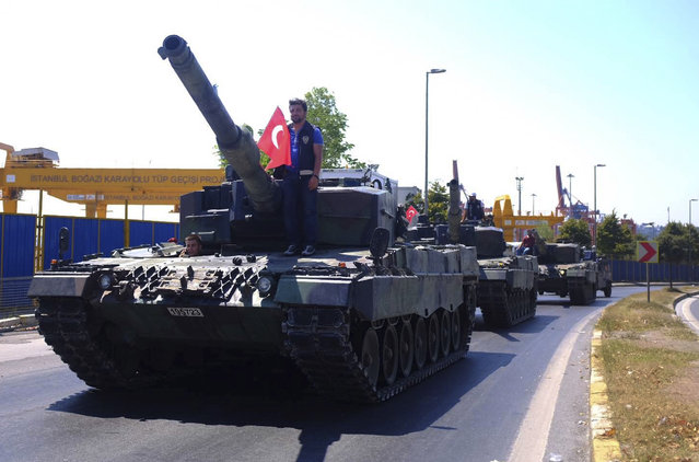 Police officers drive some of the tanks that were used by soldiers participating in the attempted coup, back to the Selimiye Army Base in Istanbul, Saturday, July 16, 2016. (Photo by Cansu Alkaya/AP Photo)