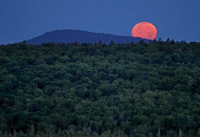 In this Monday, August 7, 2017 photo, the full moon sets behind Hunt Mountain on a privately owned tract of land surrounded by land that now comprises the Katahdin Woods and Waters National Monument near Patten, Maine. Interior Secretary Ryan Zinke wants to retain the newly created Katahdin Woods and Waters National Monument in northern Maine, but said he might recommend adjustments to the White House on Thursday, Aug. 24, 2017. (Photo by Robert F. Bukaty/AP Photo)