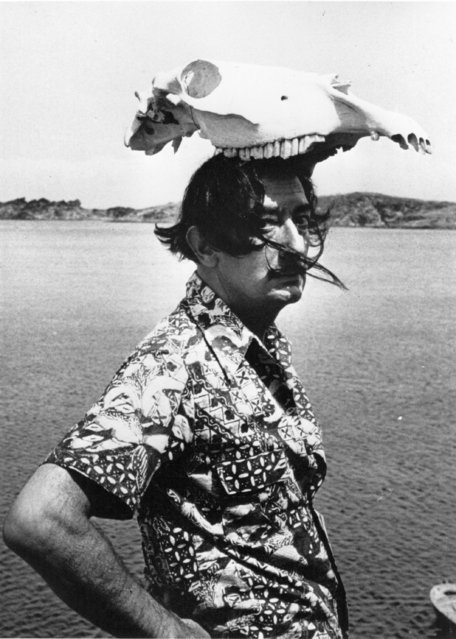 Spanish surrealist artist Salvador Dali (1904–1989) wearing an animal skull as a hat, 1950. (Photo by Hulton Archive)
