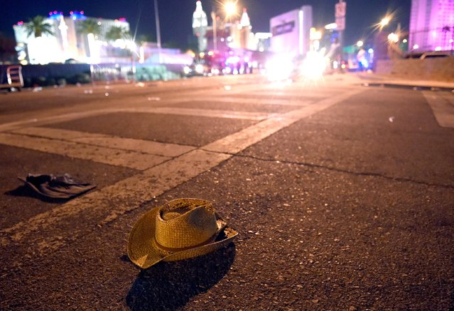 A cowboy hat lays in the street after shots were fired near a country music festival on October 1, 2017 in Las Vegas, Nevada. There are reports of an active shooter around the Mandalay Bay Resort and Casino. (Photo by David Becker/Getty Images)