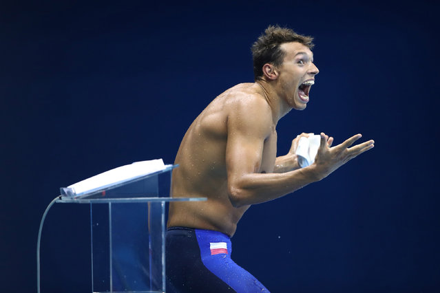 Kacper Majchrzak of Poland reacts following the Men's 200m Freestyle Final on Day 2 of the Rio 2016 Olympic Games at the Olympic Aquatics Stadium on August 7, 2016 in Rio de Janeiro, Brazil. (Photo by Julian Finney/Getty Images)
