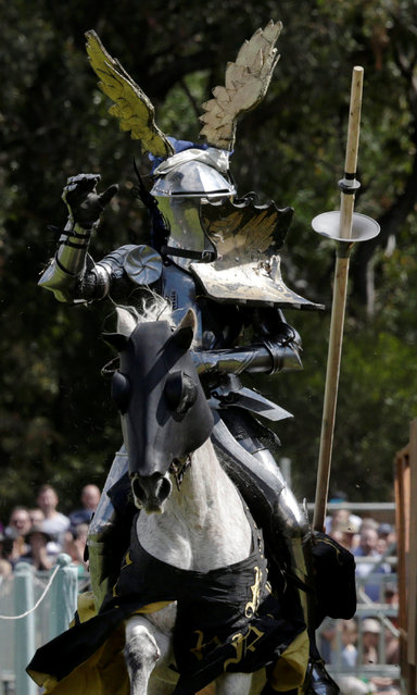 Jouster Arne Koets from the Netherlands tosses his lance after making contact on an opponent during the jousting tournament at the St Ives Medieval Fair in Sydney, one of the largest of its kind in Australia, September 24, 2016. (Photo by Jason Reed/Reuters)
