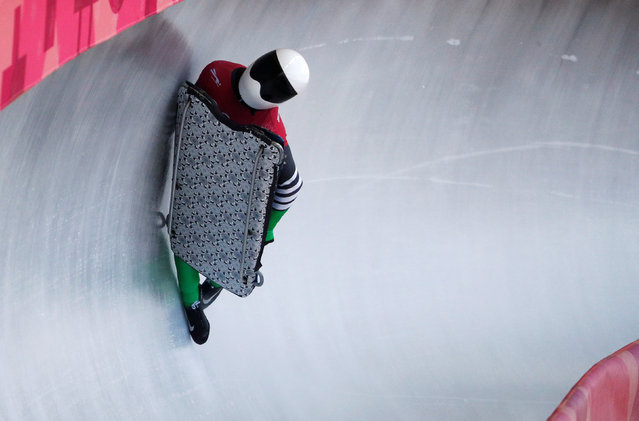 Simidele Adeagbo of Nigeria during her run in Skeleton training at the 2018 Winter Olympics in Pyeongchang, South Korea, Tuesday, February 13, 2018. (Photo by Edgar Su/Reuters)