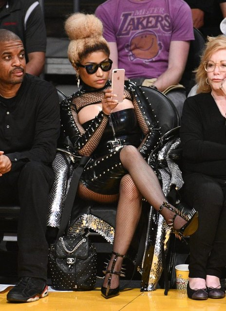 Nicki Minaj attends a basketball game between the Los Angeles Lakers and the Houston Rockets at Staples Center on April 10, 2018 in Los Angeles, California. (Photo by Allen Berezovsky/Getty Images)