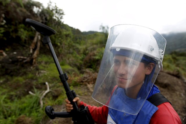 Natalia Arango poses with her mine detector in a zone where landmines were planted by rebel groups near Sonson in Antioquia province, November 19, 2015. (Photo by Fredy Builes/Reuters)