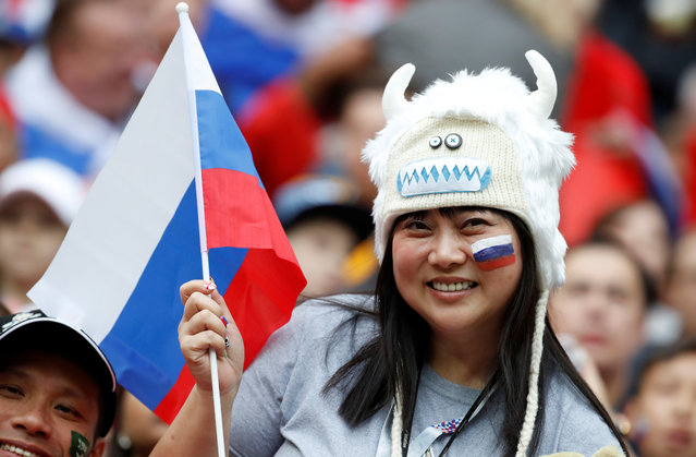 .A Russia fan poses during the warm up before the Russia 2018 World Cup Group A football match between Russia and Saudi Arabia at the Luzhniki Stadium in Moscow on June 14, 2018. (Photo by Christian Hartmann/Reuters)