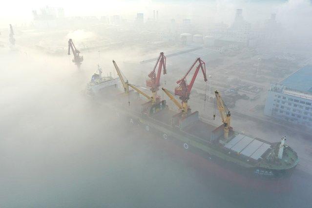 Lianyungang wharf is seen under advection fog in Lianyungang city, Jiangsu province, China, January 31, 2021. (Photo by Costfoto/ddp USA/Profimedia)