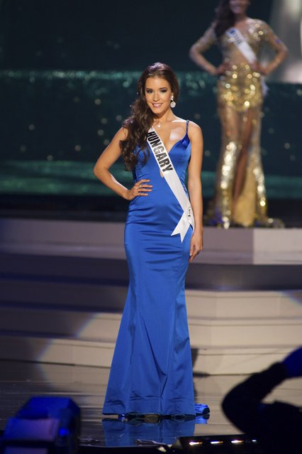 Henrietta Kelemen, Miss Hungary 2014 competes on stage in her evening gown during the Miss Universe Preliminary Show in Miami, Florida in this January 21, 2015 handout photo. (Photo by Reuters/Miss Universe Organization)