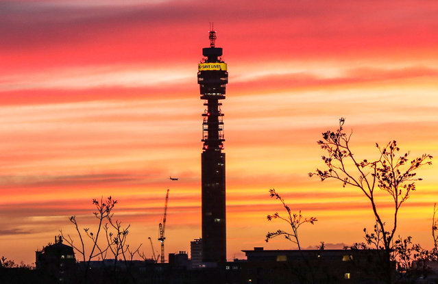 A beautiful sunset seen over the London skyline with a view of the BT Tower in United Kingdom on February 3, 2021. (Photo by Brett Cove/SOPA Images/Sipa USA)