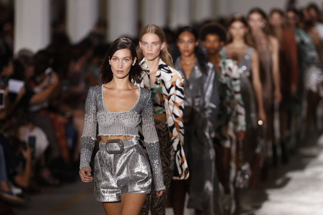 Model Bella Hadid leads other models as part of the Cavalli women's 2019 Spring-Summer collection, unveiled during the Fashion Week in Milan, Italy, Saturday, September 22, 2018. (Photo by Antonio Calanni/AP Photo)