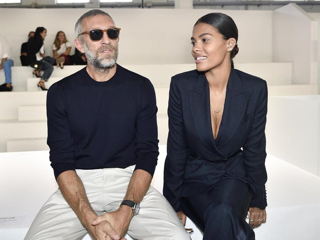 Actor Vincent Cassel and his wife Tina Kunakey attend the Roberto Cavalli women's 2019 Spring-Summer collection, unveiled during the Fashion Week in Milan, Italy, Saturday, September 22, 2018.  (Photo by Flavio Lo Scalzo/ANSA via AP Photo)