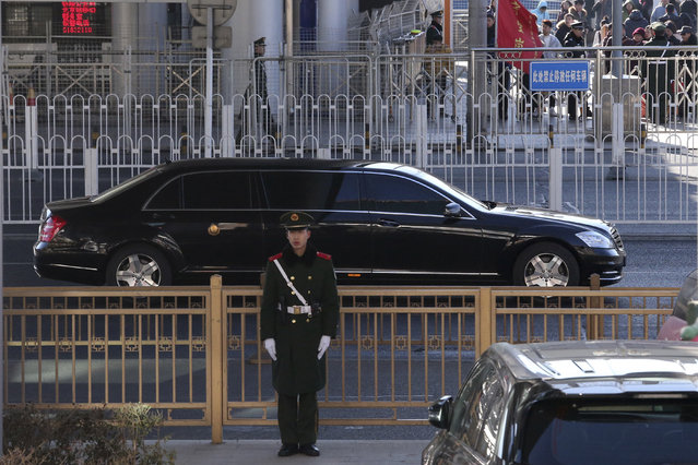A sedan which is believed to carry North Korean leader Kim Jong Un leaves a train station with a convoy in Beijing, China, Tuesday, January 8, 2019. North Korean leader Kim Jong Un is making a four-day trip to China, the North's state media reported Tuesday, in what's likely an effort by Kim to coordinate with his only major ally ahead of a summit with U.S. President Donald Trump that could happen early this year. (Photo by Ng Han Guan/AP Photo)