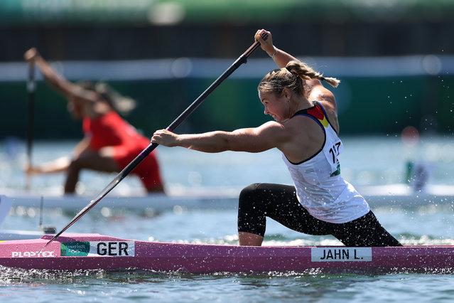Lisa Jahn of Team Germany competes during the Women's Canoe Single 200m Semi-final 1 on day thirteen of the Tokyo 2020 Olympic Games at Sea Forest Waterway on August 05, 2021 in Tokyo, Japan. (Photo by Laurence Griffiths/Getty Images)