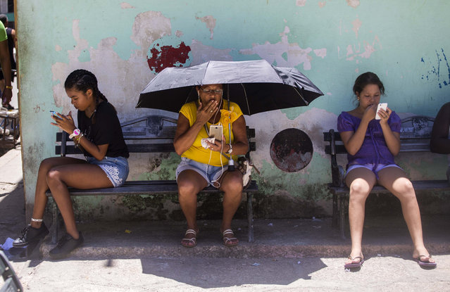 People use their smartphones to surf the internet while sitting outside, in Havana, Cuba, Wednesday, August 22, 2018. The state telecommunications company of Cuba launched on Wednesday the latest, and most extensive, of a recent series of test runs of a mobile network that would give ordinary citizens greater access to the internet than has existed before on the island. (Photo by Desmond Boylan/AP Photo)