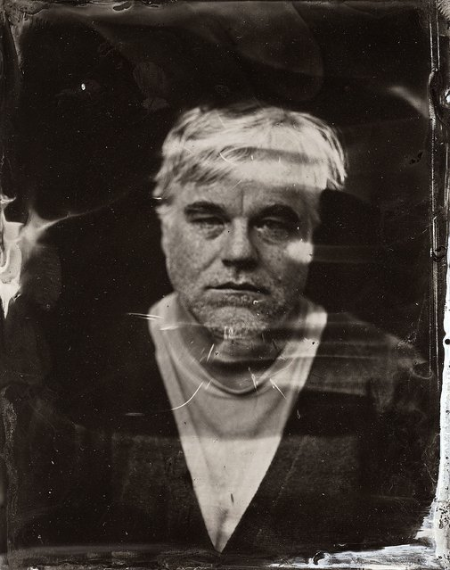 Philip Seymour Hoffman  poses for a tintype (wet collodion) portrait at The Collective and Gibson Lounge Powered by CEG, during the 2014 Sundance Film Festival in Park City, Utah. (Photo by Victoria Will/AP Photo/Invision)