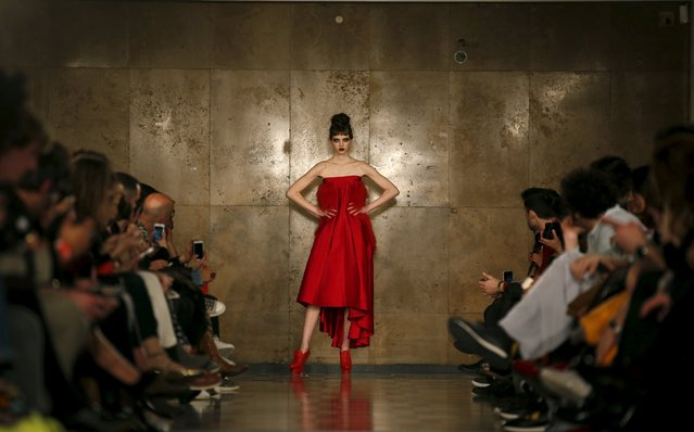 A model presents a creation by designer David Ferreira, as part of his Fall/Winter 2016/17 collection, during Lisbon Fashion Week, Portugal, March 11, 2016. (Photo by Rafael Marchante/Reuters)