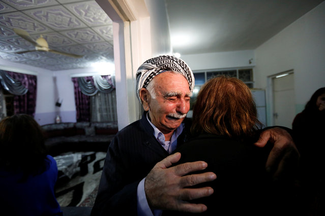 Father of Fuad Sharef, an Iraqi with an immigration visa who was prevented with his family from boarding a flight to New York a week ago,reacts in Erbil, the capital of the Kurdish region in northern Iraq February 4, 2017, before going to the airport to fly, on Turkish Airlines, to Nashville, Tennessee, their new home. (Photo by Ahmed Saad/Reuters)