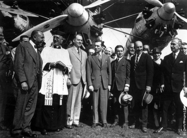Igor Sikorsky (far right) and Captain Rene Fonck (2nd from right) prior to his attempt to fly from New York to Paris in a three engined Sikorsky