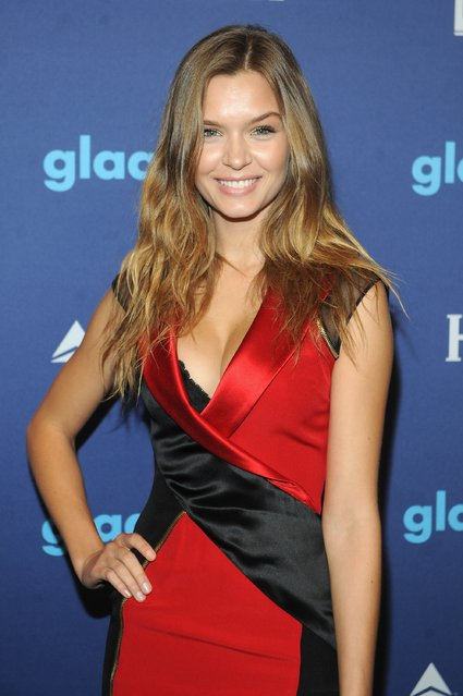 Model Josephine Skriver attends the VIP Red Carpet Suite hosted by Ketel One Vodka at the 26th Annual GLAAD Media Awards in New York on May 9, 2015 in New York City. (Photo by Brad Barket/Getty Images for Ketel One)
