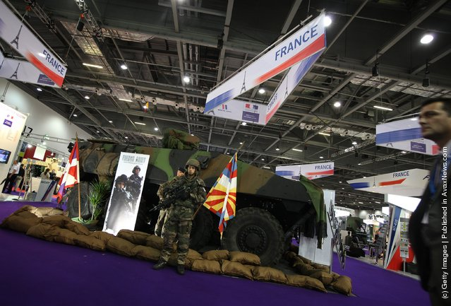 A French military combat command vehicle is displayed at The Defence and Security Exhibition