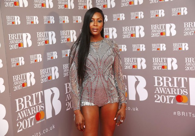 Presenter Naomi Campbell poses in the winners area at the Brit Awards at the O2 Arena in London, Britain, February 22, 2017. (Photo by Neil Hall/Reuters)