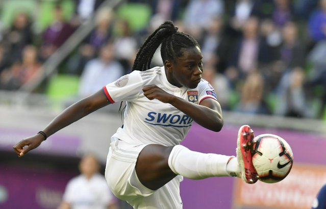 Griedge M'Bock Bathy of Lyon in action during the women's soccer UEFA Champions League final match between Olympique Lyon and FC Barcelona at the Groupama Arena in Budapest, Hungary, Saturday, May 18, 2019. (Photo by Tibor Illyes/MTI via AP Photo)